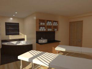 3D vizualizace masérny pro duo masáže a koupele - salon HATEA Pardubice